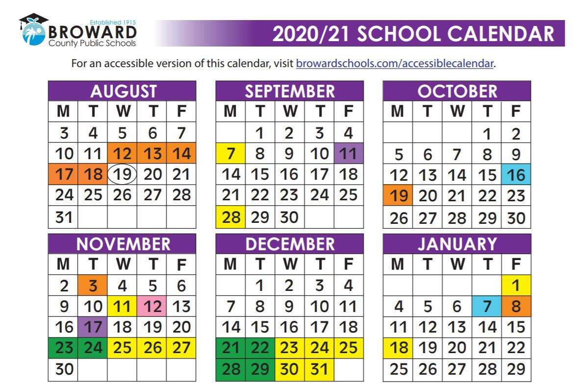 2021 And 2020 Broward School Calendar Headlines & Features