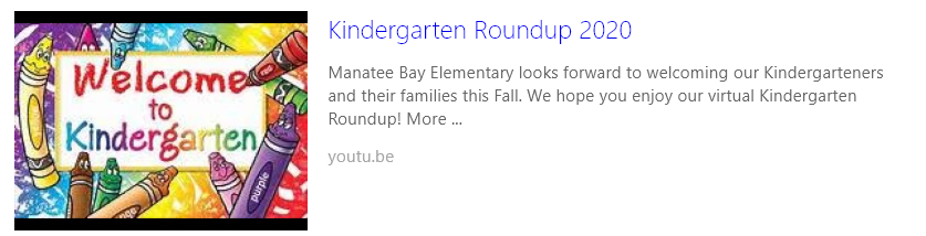 Virtual Kindergarten Roundup  2020