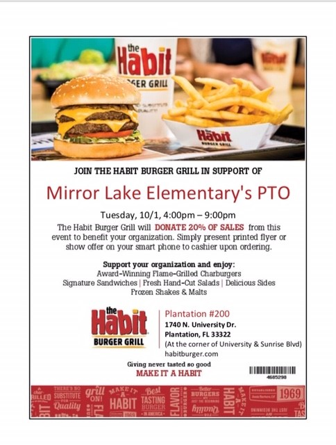 Mirror Lake Elementary's PTO Family Night at The Habit Burger Grill