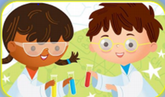 Cartoon image of students holding science test tubes