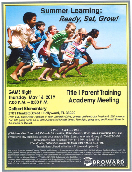 Title 1 Parent Training Academy Meeting