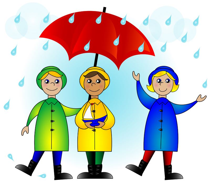 Children with umbrella clip art