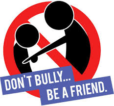Don't be a bully, be a friend. image of two characters and red line.