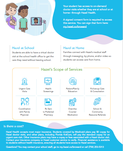 flyer of New Telehealth Services in school and and home flyer