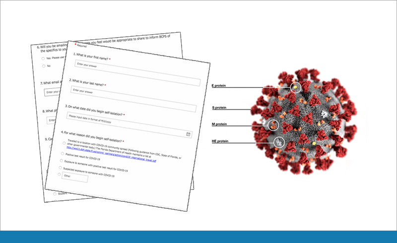 image of paper survey and image of coronavirus picture