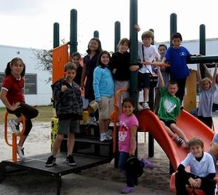 Second Graders on Playground