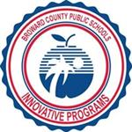 Broward County Schools Innovative Programs logo including red font, white palm tree, white sun inscribed in a blue apple