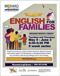 Flyer for on-line English classes for families