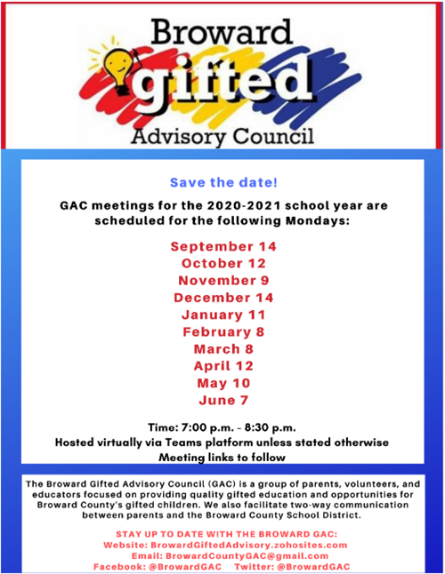 Gifted Advisory Council Schedule