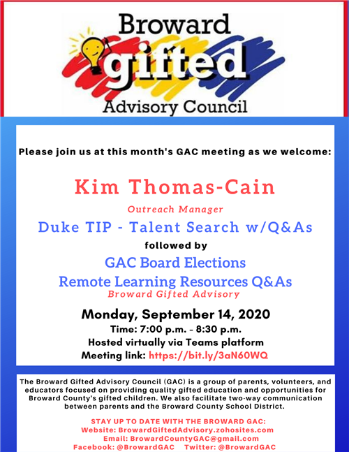 Browared Gifted Advisory Council Meeting Monday September 14