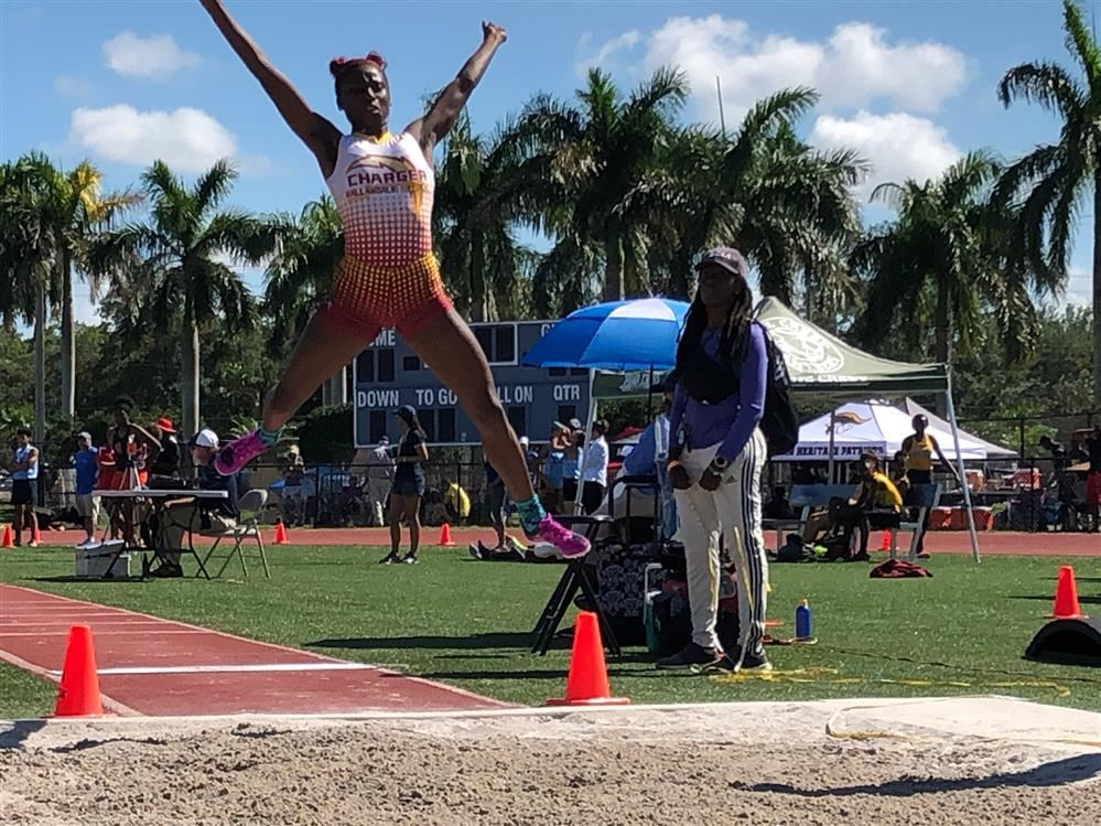 Destiny Castillo of Hallandale make her first attempt in the Long jump