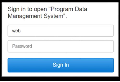 Program Data Management System Login Screen