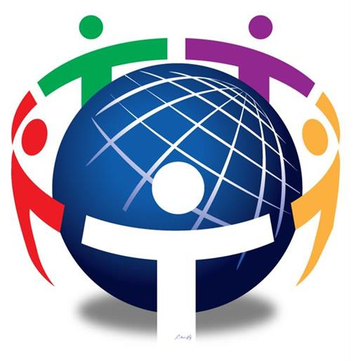 Department logo: Globe with people encircling the globe