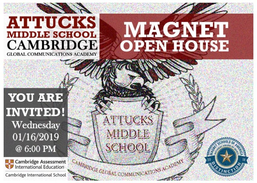 Magnet Open House invitation for January 16 at 6PM