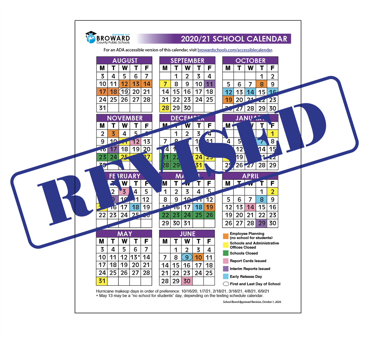 School Board Approves Minor Revisions to the 2020/21 School Calendar