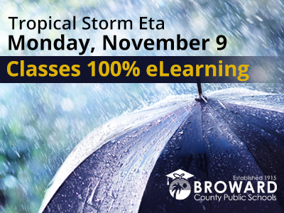 Tropical Storm ETA:  BCPS Reverts to 100% eLearning on Monday, November 9
