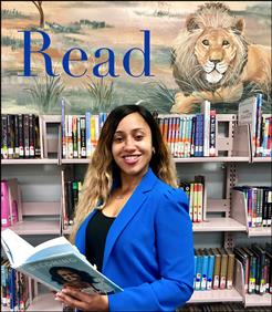 Image of Mrs. Wynter in Lyon's Creek Middle's media center.
