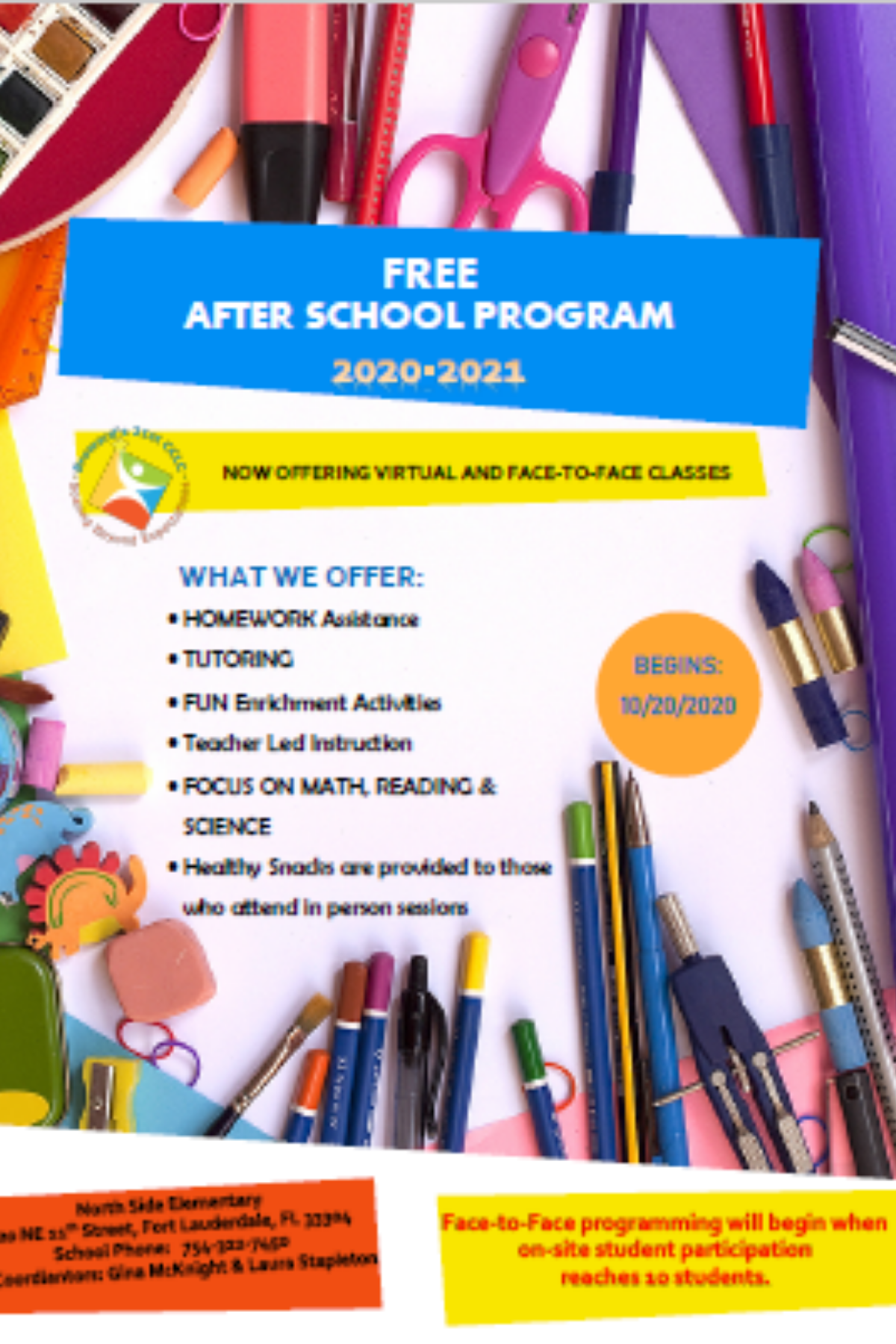21st Century After School Program Flyer 2020 2021