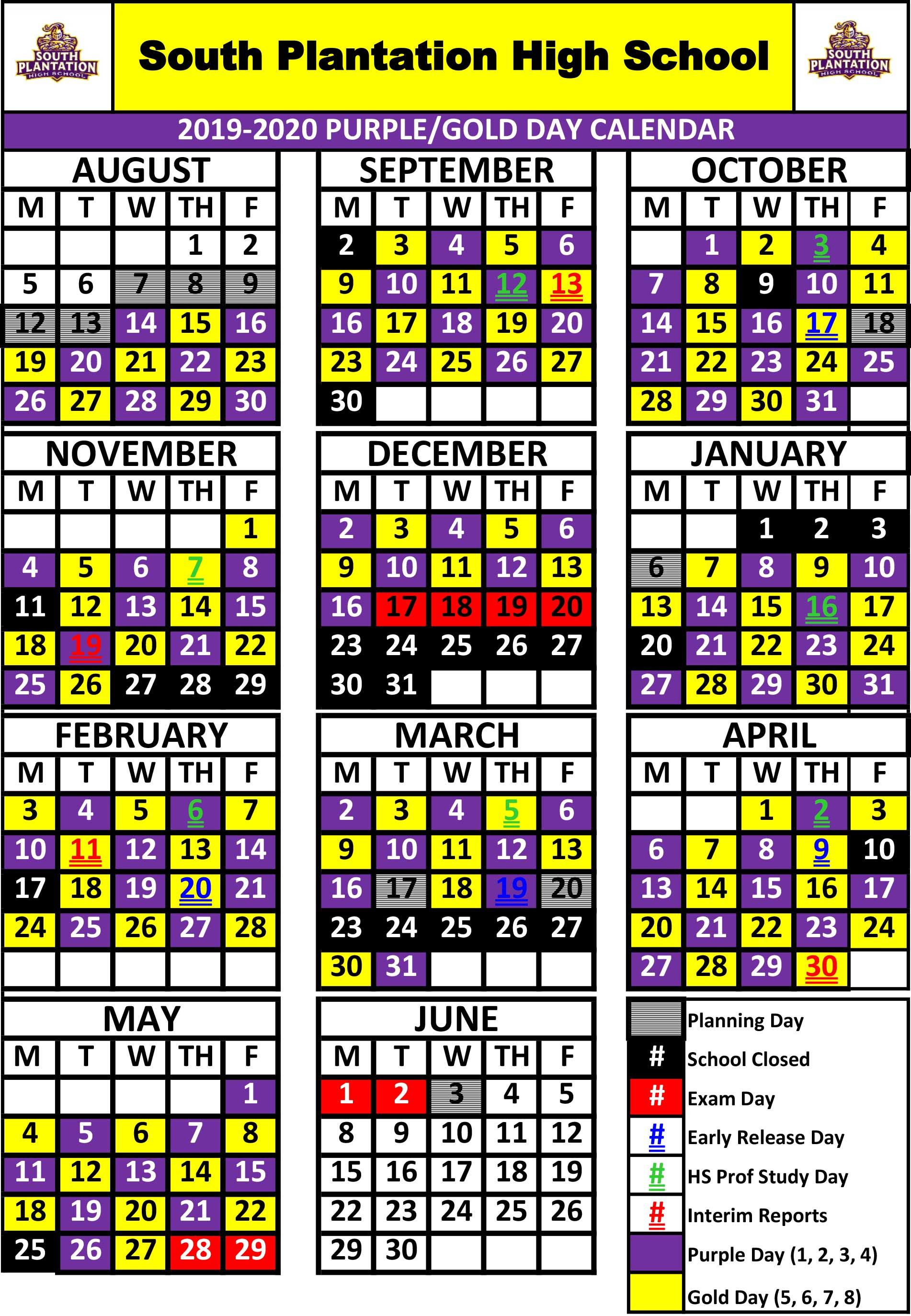 School Schedule / South Plantation Schedule