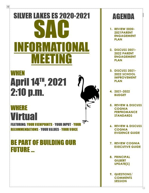 SILVER LAKES 2020-2021 JOIN SAC-April 14th at 2:10 pm