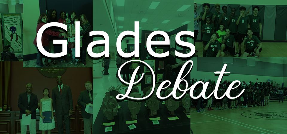 Glades Debate Banner with a photo montage of students.