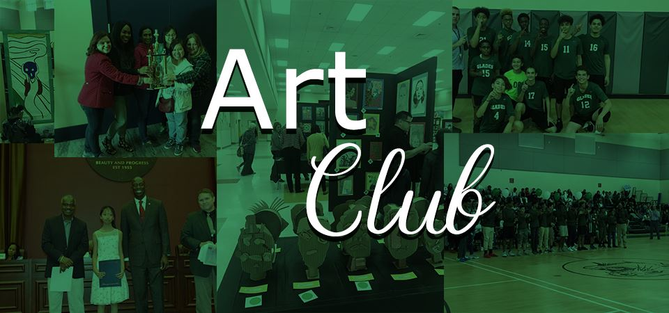 Photo montage of student pictures with the title of Art Club in the forground
