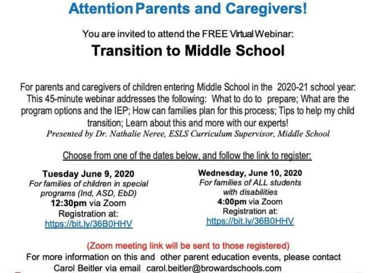 Transition to middle school flyer