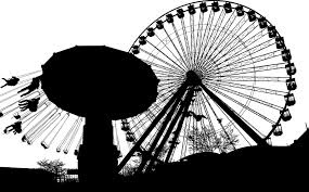 silhouette of amusement park