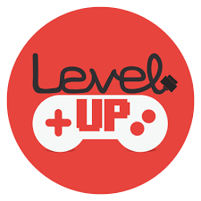 Red circle with game controller and words level up inside