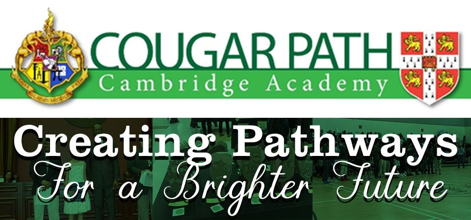 "Cambridge Academy Logo, with the motto ""creating pathways for a brighter future"""