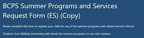BCPS Summer Programs and Services Request Form