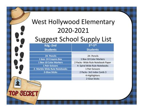 Picture of school supply list