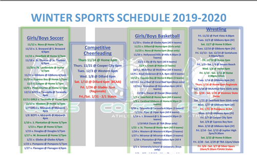 Winter Sport Schedule