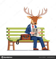 Buck sitting on a park bench reading the newspaper.
