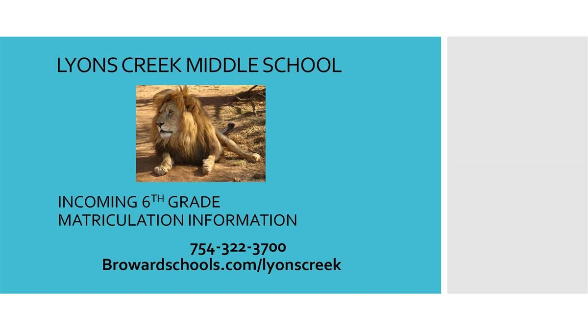 LYONS CREEK MIDDLE 6TH GRADE