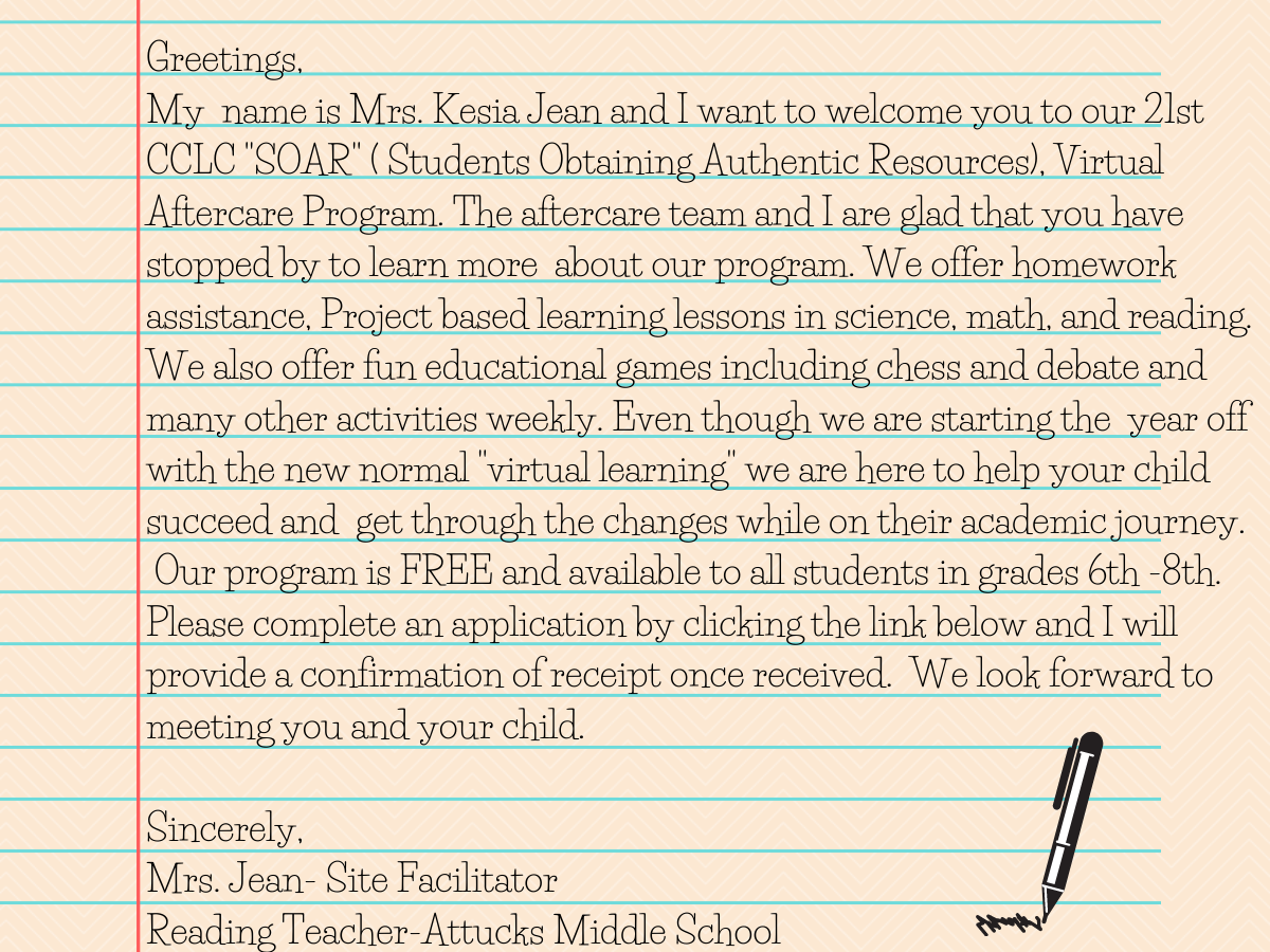 Welcome message from Mrs. Jean