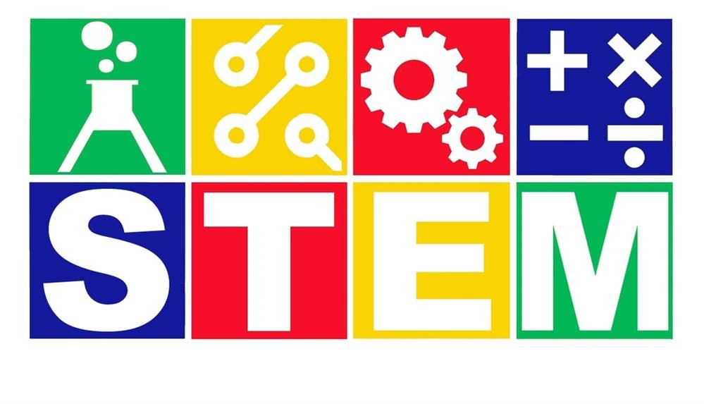 Image of the word STEM with a flask, tools, gears and mathematical symbols