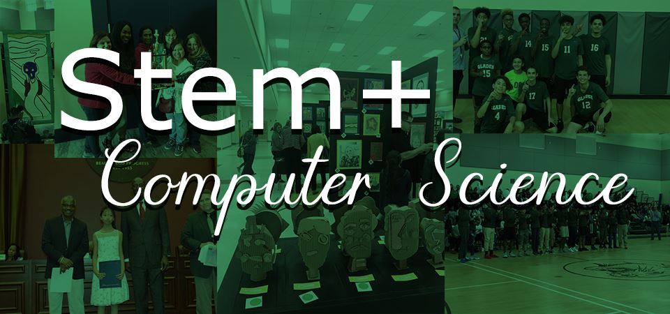 Banner of a photomontage of student pictures with the title of STEM + Computers in the forground