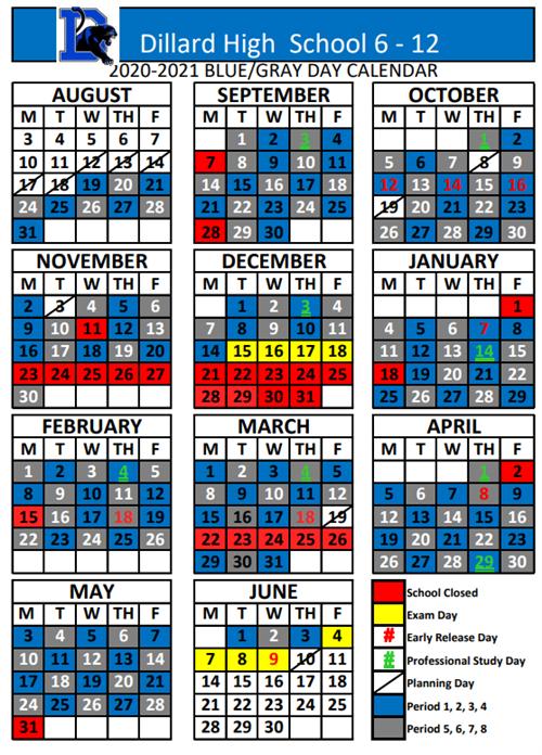 Updated 2020 2021 Dillard High School 6 12 Calendar