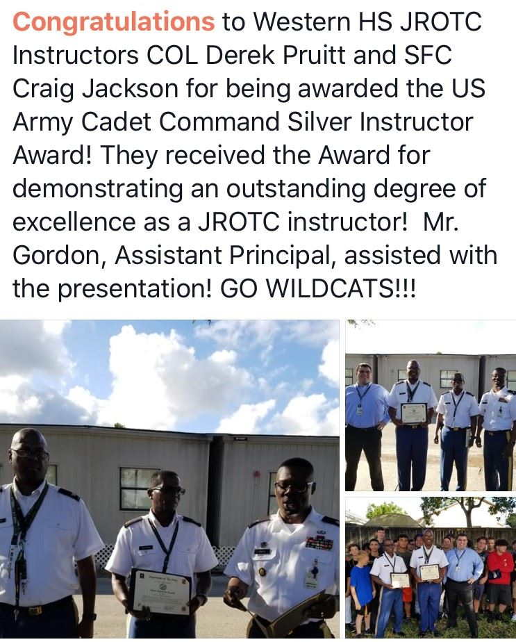 Congratulations Wildcat JROTC Instructors Colonel Pruitt and Sargent First Class Jackson!