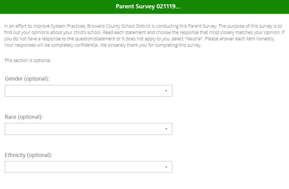 Parent Survey Screenshot