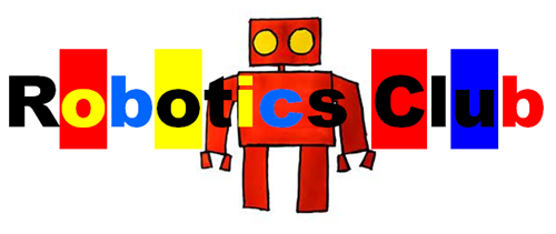 Robotics Club spelled out in colorful block letters with a robot in the middle