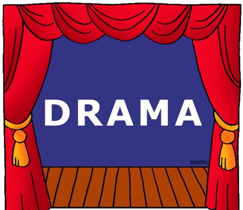 The word Drama centered on a stage with red curtains and a blue backdrop
