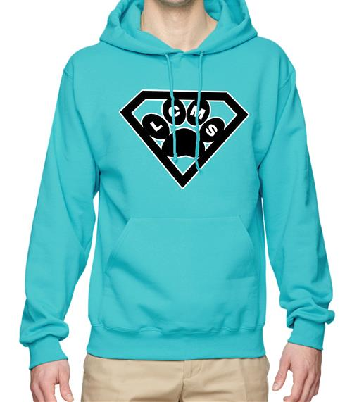 LCMS 2018-2019 Spirit Hoodie- Teal with a paw inside a superman symbol