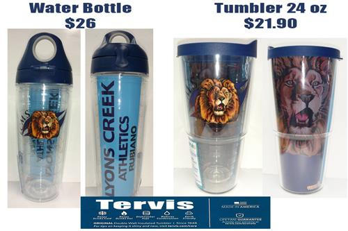 LCMS Lion Logo Tervis Water Bottle and Tervis 24 oz tumbler