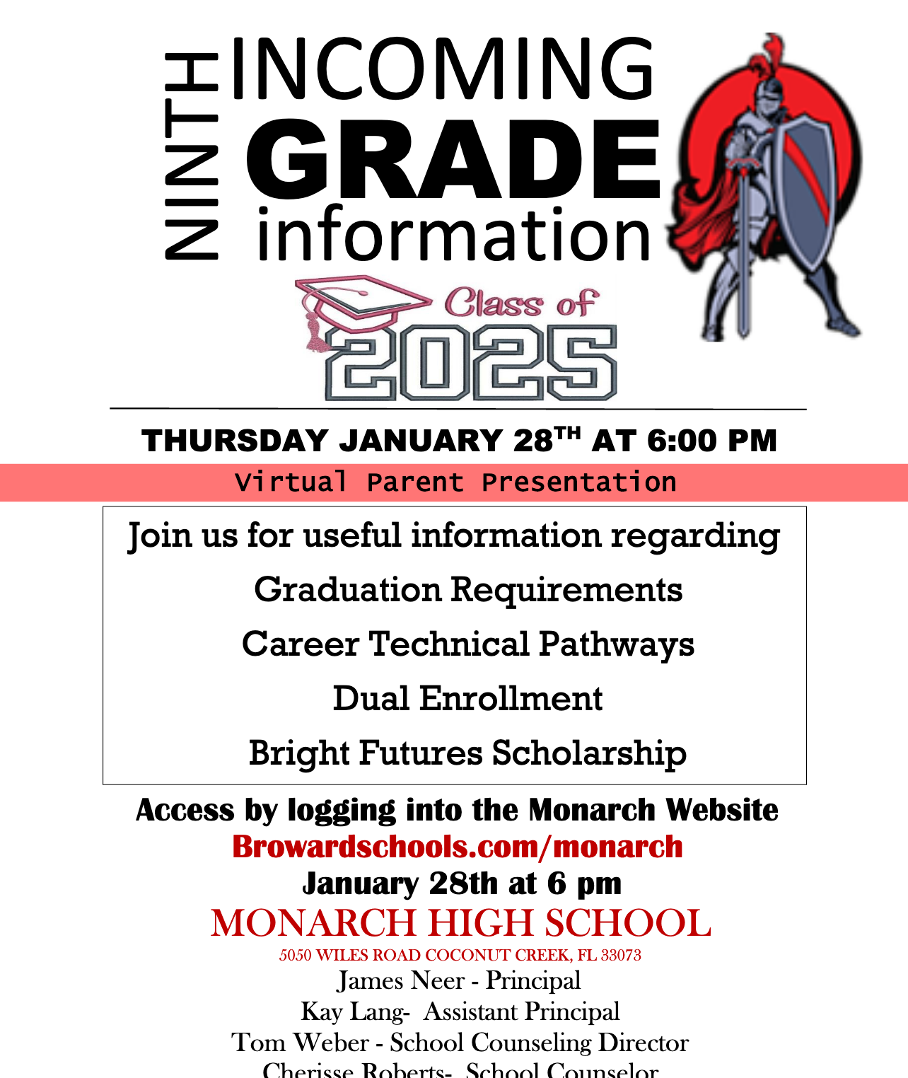 Monarch High Open House is on 1/28. Click here for the link to attend.