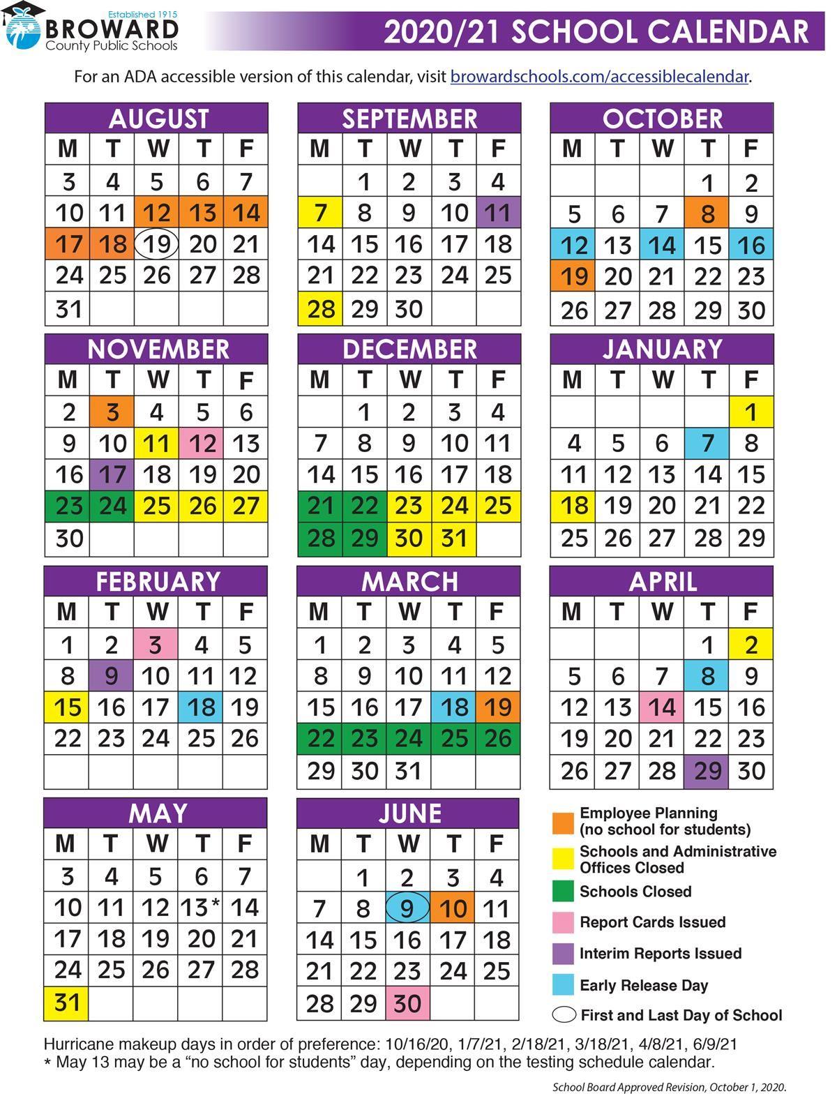 Broward County School Calendar 2021-22 2020 21 School Calendar color.ai