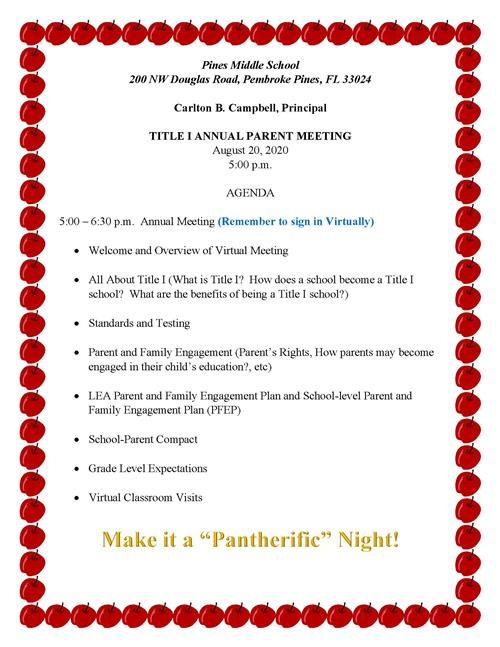 Pines Middle Title I Annual Meeting Agenda