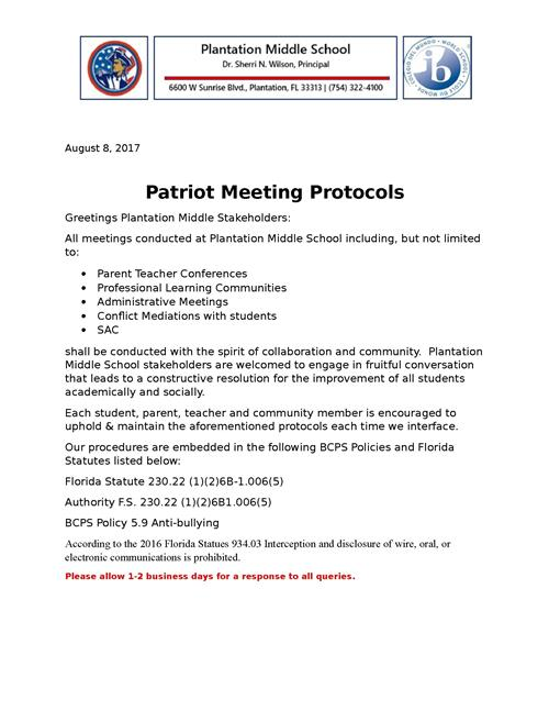 Patriot Protocols