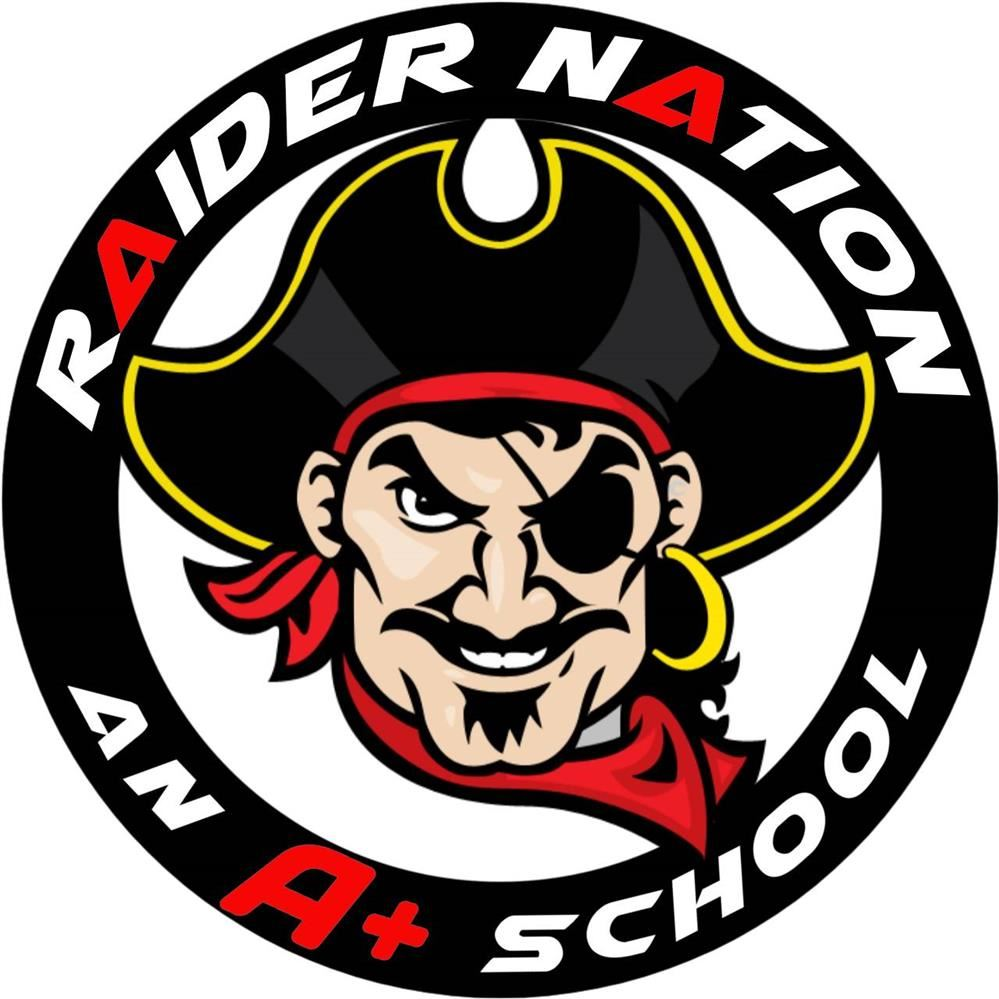 Pirate Raider School Logo in Black, Red, Yellow and White